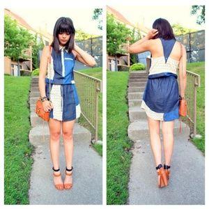 Dresses & Skirts - Viva Vena! Polka Dot Denim Patchwork Sundress M